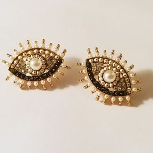 NEW Pearl & Gold Mystic Eye Boho Stud Earrings